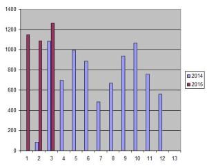 Antal besök per månad på hemsidan