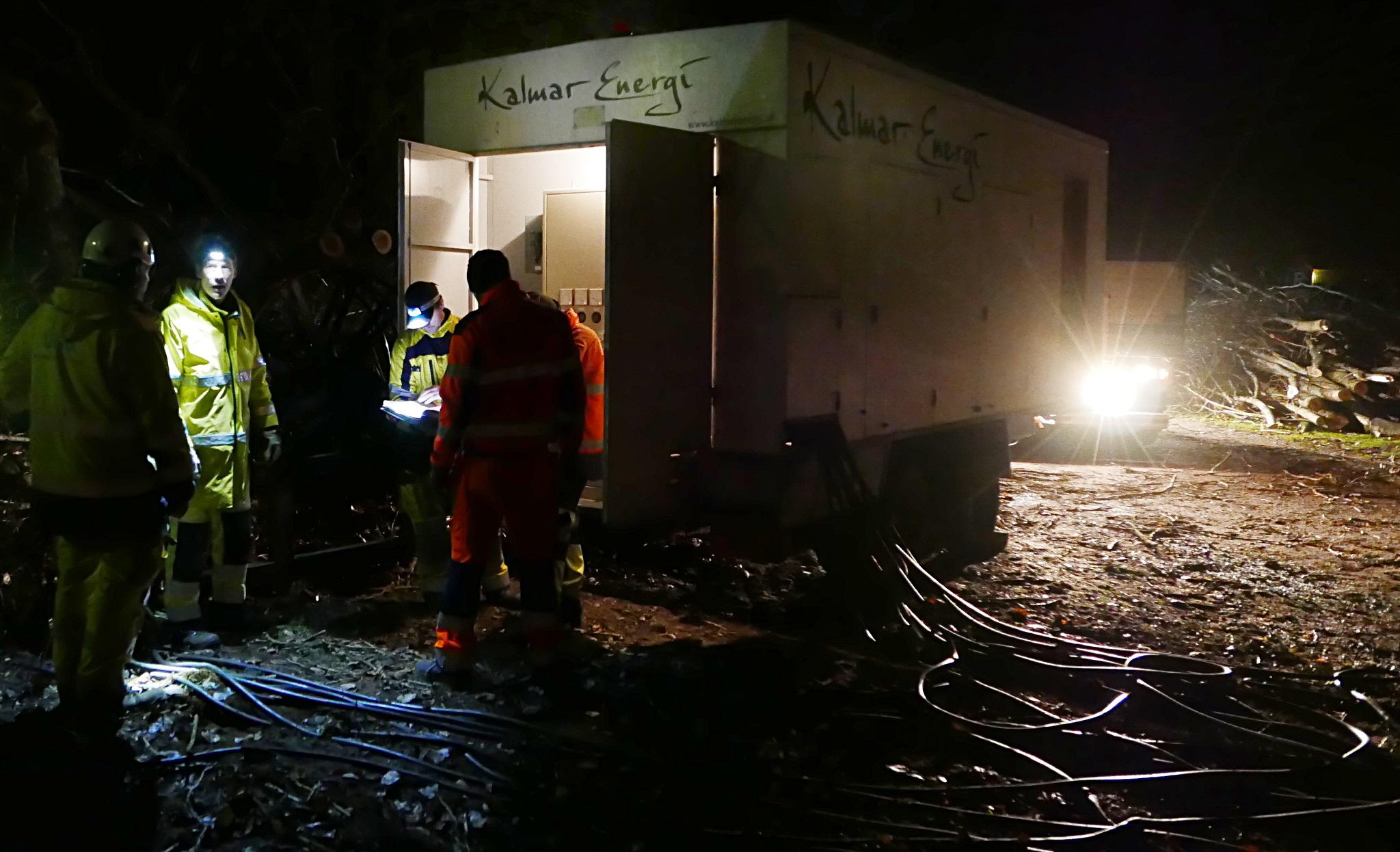 Dieselelverk i Vickleby efter stormen Gorm